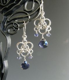 Aura Weave Chainmaille Earrings with Iolite. $25.00, via Etsy.