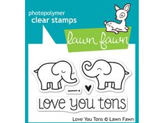 "This mini set of clear stamps may be small, but it has a ton of style! Tell your loved one how much you care with two cute elephants, a heart, exclamation point, and a ""love you tons"" sentiment. Check"