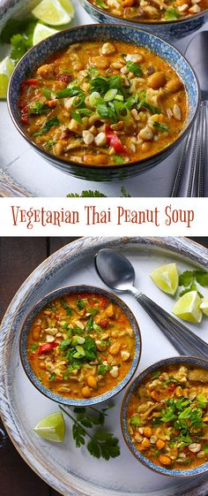Vegetarian Thai Peanut Soup - awesome Thai flavors, quick-cooking ramen noodles, and a crunchy peanut topping round out this delicious vegetarian soup from SoupAddict.com