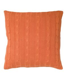 Orange Cable-Knit Throw Pillow | zulily
