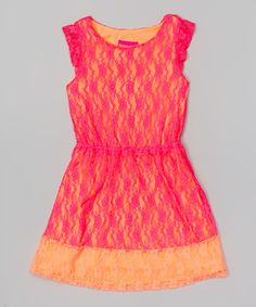 Another great find on #zulily! Fuchsia & Orange Lace Dress - Girls by Tobby's Angels #zulilyfinds
