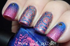 Stamping decal with Superchic Hot finger and Tripped ~ More Nail Polish