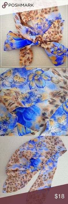 """Vintage Neck Scarf Gorgeous vintage scarf. Long and narrow. About 36"""" X 4"""". Perfect tie for the neck, hair or waist. In exceptional condition. Fair offer or bundle. Vintage Accessories Scarves & Wraps"""