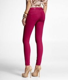 STELLA COLORED JEAN LEGGING-BRIGHT PINK at Express