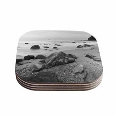 Kess InHouse Nick Nareshni 'Water Moving Around Rocks' Gray White Coasters