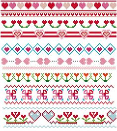 Hearts cross stitch borders pattern set. 10 different cross stitch border patterns in pink, blue, green and red. Instant download PDF files. Vintage inspired. Design by Studio-Koekoek