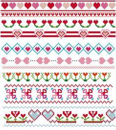 Hearts cross stitch borders PDF pattern. Love theme by Koekoek