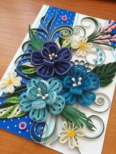 Quilling card Birthday quilled card Quilled f - Quilling Paper Crafts Quilling Flowers Tutorial, Paper Quilling Flowers, Paper Quilling Patterns, Quilling Paper Craft, Paper Crafts, Flower Tutorial, Neli Quilling, Quilling Work, Quilling Ideas