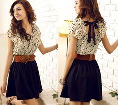 Women's Summer Short Sleeve Chiffon Dots Polka Waist Top Mini Dress 3 Size S M L