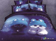 New Arrival Top Class Cotton Cute Cartoon Tai Chi Cat Print 4 Piece Bedding Sets bed & bath inn