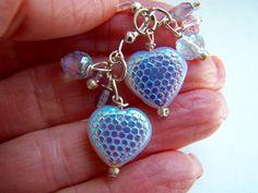 Lavender Heart Earrings Purple Heart Earrings by doodaba on Etsy Heart Earrings, Dangle Earrings, Pendant Necklace, Purple Earrings, Silver Earrings, Vintage Pink, Vintage Ladies, Iridescent, Glass Beads
