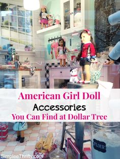 American Girl Doll Accessories for less! Check out these great ways to save! Owning an American Girl Doll can be expensive. Take a look at these American Girl Doll Accessories you can find at Dollar Tree. American Girl Outfits, American Girl Parties, American Girl Crafts, American Doll Clothes, Girl Doll Clothes, Girl Dolls, Ag Dolls, American Girls, American Girl Store