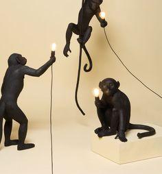 Seletti Sitting Monkey LED Bordlampe Sort Sorting, Monkey, Character Design, Chandelier, Table Lamp, Lighting, Home Decor, Lily, Jumpsuit