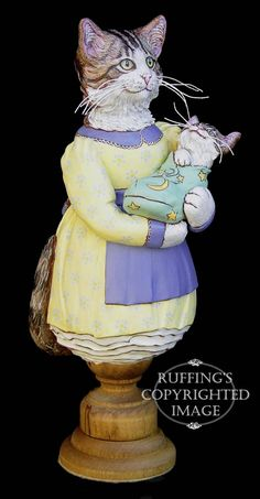Belinda and BoBo, Original One-of-a-kind Tabby Cat Mother and Kitten Art Doll Figurine by Max Bailey