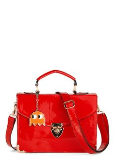 Pen Palling Around Bag, #ModCloth I love it...the pac man ghost adds that quirky touch on this stylish purse.