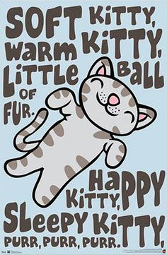 Big Bang Theory Soft Kitty Poster from ThinkGeek. Saved to Big Bang theory. Big Bang Theory, The Big Band Theory, Tbbt, Soft Kitty Warm Kitty, Sleepy Cat, Cool Posters, Funny Tees, Nerdy, Poster Prints