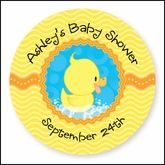 Ducky Duck - 24 Round Personalized Baby Shower Sticker Labels