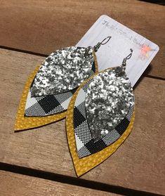Faux Leather Dangle Triple Layered Black Buffalo Plaid Mustard Yellow  Silver Glitter Earrings Teardr 4f23a804e8f5