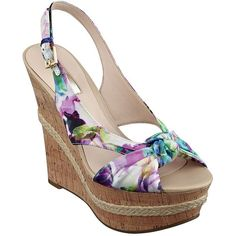 Guess Delilan Platform Sandal Wedges ($79) ❤ liked on Polyvore featuring shoes, sandals, floral, floral shoes, floral sandals, floral print shoes, wedge sandals and cork wedge platform shoes