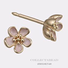 Authentic Pandora 14k Gold Enamel Cherry Blossom Stud Earrings | eBay