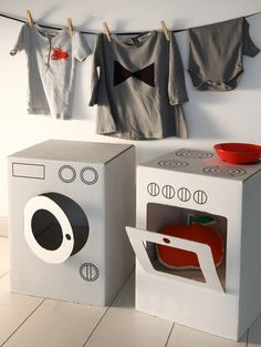 Washing machine and oven from cardboard boxes