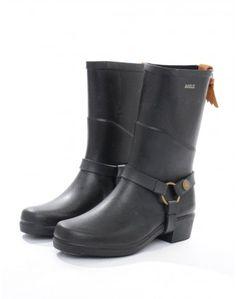 Aigle Black Miss Julie Biker Wellington Boots