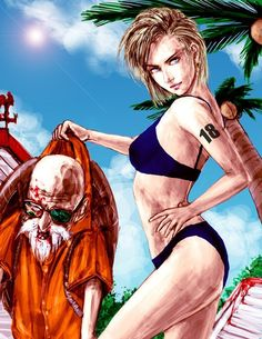 Android 18 and master roshi Android 18, Manga Anime, Anime Art, Dragon Ball Gt, Goku Ssj3, Krillin And 18, C 18, The Villain, Anime Comics