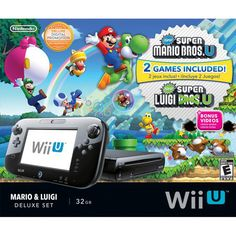 Nintendo Wii U Mario & Luigi Deluxe Set: Of course, I'll need something fun to do with my buddies after class. The Wii U is perfect for that. Mario Wii, Mario And Luigi, Mario Kart, Nintendo Wii U Console, Nintendo Ds, Nintendo Consoles, Nintendo Switch, Wii U Games, Nintendo Characters