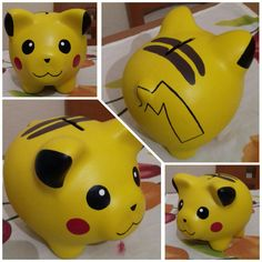 Picachu puerquito alcancia Propane Tank Art, Personalized Piggy Bank, Pokemon Party, Cute Piggies, Kids Room Organization, Bottles And Jars, Ceramic Painting, Projects To Try, Stationery