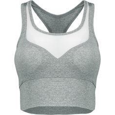 Mesh Panel Sports Tank Top Gray ($16) ❤ liked on Polyvore featuring activewear, activewear tops and sports activewear