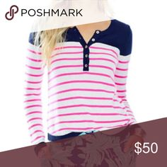 🆕 Lilly Pulitzer Adair striped pullover Beautiful henley-style Lilly Pulitzer sweater. Navy with pink and white stripes and gold buttons. ITEM IS BRAND NEW WITH TAGS. Such a beautiful sweater but a little small for me. Material is 79% cotton, 12% nylon, 6% wool, and 3% other fiber. Comes with 1 replacement button and some thread. Size XS. ❗️Sorry, I do not trade.❗️ Lilly Pulitzer Sweaters