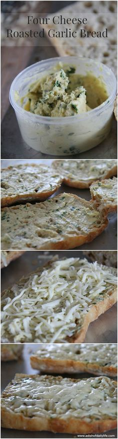 Four Cheese Roasted Garlic Bread...the roasted garlic adds another dimension of deliciousness to this yummy garlic bread! Yummy appetizer for tailgate season!