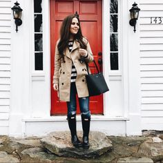 dress cori lynn. White and black striped long sleeved tee+distressed jeans+balck rainy boots+camel trenchcoat+black tote bag. Spring Casual Outfit 2017