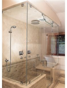 Frameless Shower Enclosure with Transom - Home and Garden Design Ideas