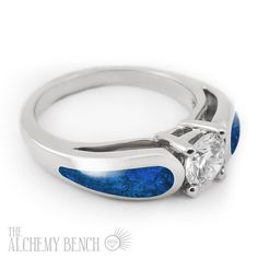 """Moonlit Sea - Horizon"" Unique Opal Engagement Ring with a Center Diamond. 