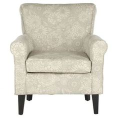 """With floral upholstery and a rolled back, this birch wood-framed arm chair is a cozy addition to your favorite reading nook.  Product: Chair    Construction Material: Birch wood, hardwood and polyester Color: Abbey mist  Features:     Exposed tapered legs  Transitional style        Dimensions: 32.4"""" H x 29.8"""" W x 32.8"""" D"""