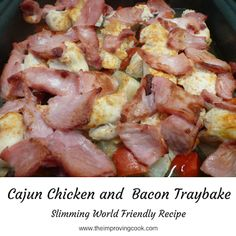 Cajun Chicken and Bacon Traybake- A quick and easy weeknight dinner- chicken, bacon, veg and potatoes on one baking tray or sheet pan. It's a Slimming World Friendly recipe too. Perfect for when you don't want to fuss with lots of pans Slow Cooker Mexican Chicken, Slow Cooker Beef, Chicken Bacon, Chicken Recipes, Rosemary Chicken, Chicken Ideas, Pesto Chicken, Turkey Recipes, Chicken And Butternut Squash