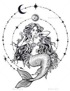 Buy Mermaid Girl with Fairytale Hair with Stars and Moon by itskatjas on GraphicRiver. Hand drawn beautiful mermaid girl with fairytale hair with stars and moon. Ocean siren in retro style. Mermaid Drawings, Mermaid Tattoos, Mermaid Art, Mermaid Pisces Tattoo, Dark Mermaid, Mermaid Tattoo Designs, Tattoo Girls, Girl Tattoos, Kunst Tattoos