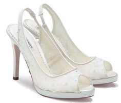 """Wedding Shoes- Accessory- Peep Toe- 4"""" High Heel Lace Covered Bridal Shoes"""