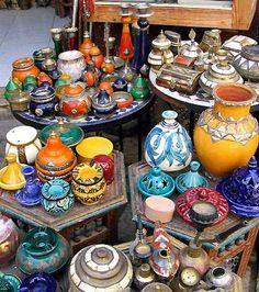Marrakesh Market-- This is a great variety of little #pots and #dishes. Very pretty and colorful.