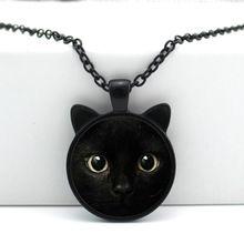 2016 Novo Colar de Pingente de Gato Preto da Cara Do Gato Orelha de Gato Jóias…