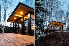 Our cabin rentals in Canada come in all shapes and sizes. They reflect the ideology and taste behind the visionaries who make them come to life - rent them ! Walk In The Woods, Cabins In The Woods, Cabin Rentals, Vacation Rentals, Boutique Homes, Wooden Decks, New Property, Cabin Design, Ceiling Windows