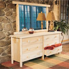 Rustic Natural Cedar Furniture Company® Cedar Log Dresser and Mirror