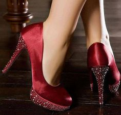 Dark red sparkly heels