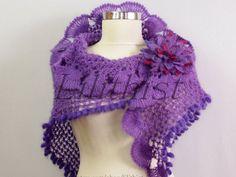 Purple Shawl Crochet Shawl Crochet Scarf Lace Shawl by lilithist