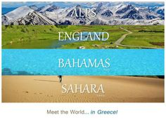 Meet the world in Greece ~ Alps England Bahamas Sahara ~ Oh The Places You'll Go, Places To Visit, Travel Around The World, Around The Worlds, Bahamas Vacation, Paradise On Earth, Thessaloniki, Heaven On Earth, Wonderful Places