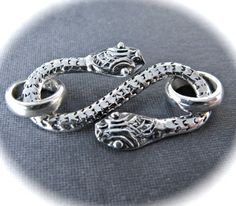 Snake Charmer SHook STERLING SILVER clasp  26mm X by lilysoffering, $13.30