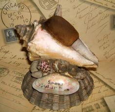 Antique Shell Art Pin Cushion Souvenir
