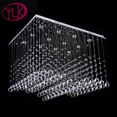 New Modern square modern crystal chandelier For Living Room Dimmable LED lustres de cristal Bedroom Rectangle Lighting Fixture