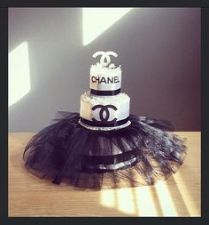 Chanel themed three tier diaper cake with by JennyKnickDesigns